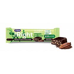 Baton proteic 23%, Fizico The Right Vegan Protein Bar, cacao si ciocolata neagra, fara zaharuri adaugate, 40 g