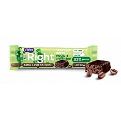 Baton proteic 23%, Fizico The Right Vegan Protein Bar, cafea si ciocolata neagra, fara zaharuri adaugate, 40 g
